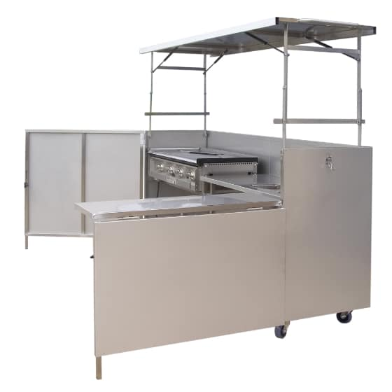 Hercules Hotplate Community Kitchen Style BBQ with Sink in Portable Foldaway Stainless Steel Cabinet