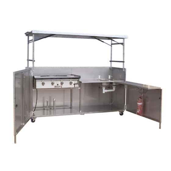 Hercules Hotplate Community Kitchen Style BBQ & Sink in Portable Foldaway Stainless Steel Cabinet
