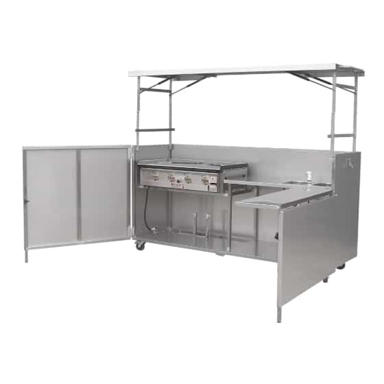 Hercules Hotplate Community Kitchen Style Gas BBQ with Sink in Portable Foldaway Stainless Steel Cabinet