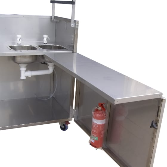 Hercules Hotplate Community Kitchen Style Gas BBQ in Portable Foldaway Stainless Steel Cabinet with Sink